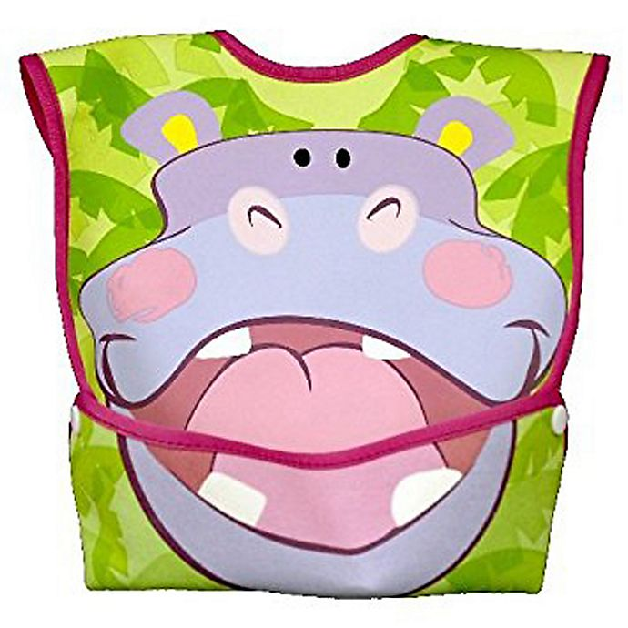 Alternate image 1 for DexBaby Large Hippo Waterproof Big Mouth Dura-Bib in White