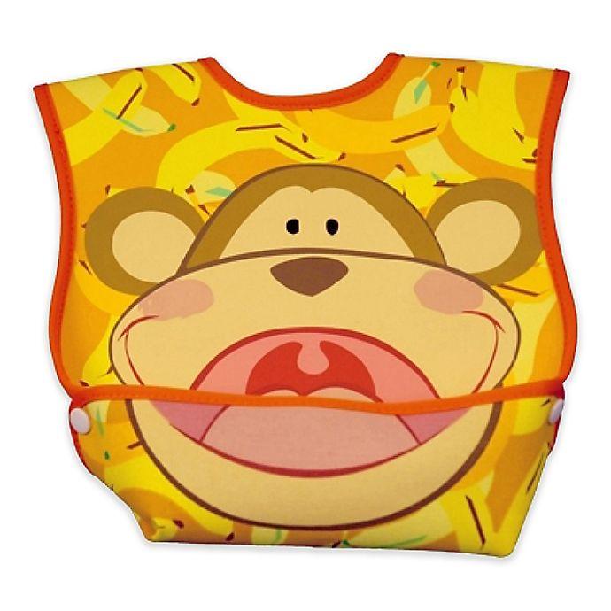 Alternate image 1 for DexBaby Large Monkey Waterproof Big Mouth Dura-Bib in White