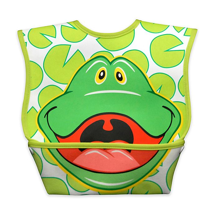 Alternate image 1 for DexBaby Large Frog Waterproof Big Mouth Dura-Bib in White