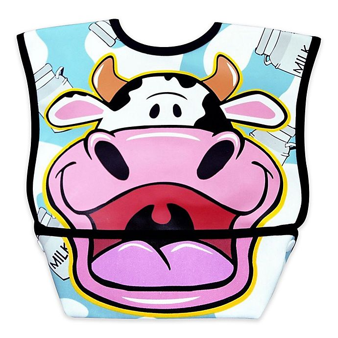 Alternate image 1 for DexBaby Large Cow Waterproof Big Mouth Dura-Bib in White