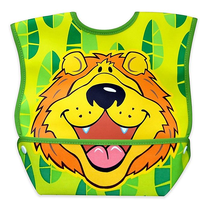 Alternate image 1 for DexBaby Large Lively Lion Waterproof Big Mouth Dura-Bib in White