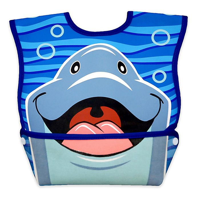 Alternate image 1 for DexBaby Large Dolphin Waterproof Big Mouth Dura-Bib in White