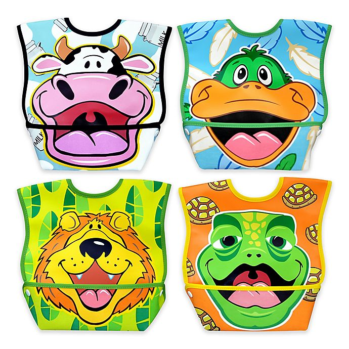 Alternate image 1 for DexBaby 4-Pack Large Waterproof Big Mouth Dura-Bibs in White
