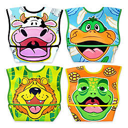 DexBaby 4-Pack Large Waterproof Big Mouth Dura-Bibs in White