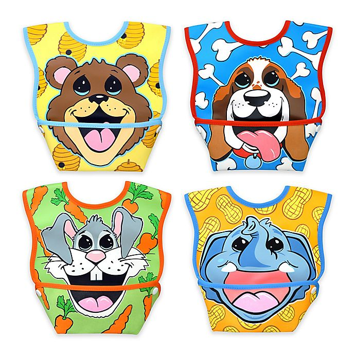 Alternate image 1 for DexBaby 4-Pack Small Waterproof Big Mouth Dura-Bibs in White