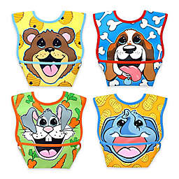 DexBaby 4-Pack Small Waterproof Big Mouth Dura-Bibs in White