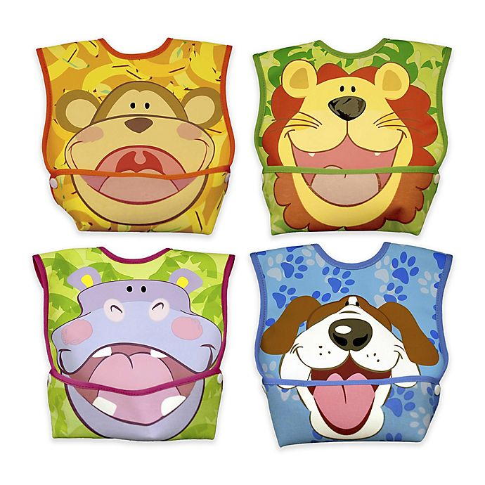Alternate image 1 for DexBaby 4-Pack Small Animals Waterproof Big Mouth Dura-Bibs in White