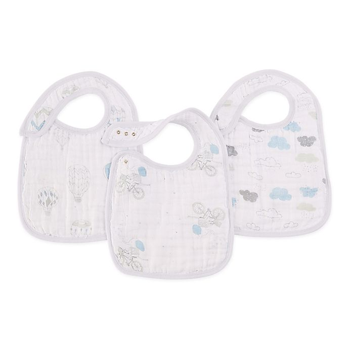 Alternate image 1 for aden + anais® 3-Pack Night Sky Classic Muslin Snap Bibs in Blue