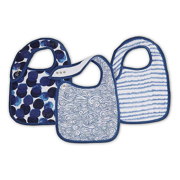 Alternate image 1 for aden + adais® 3-Pack Seafaring Muslin Snap Bibs in Blue
