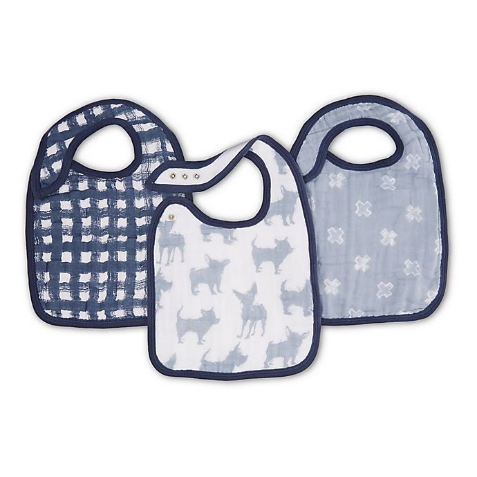 Alternate image 1 for aden + anais® 3-Pack Waverly Classic Muslin Snap Bibs in Blue