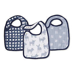aden + anais® 3-Pack Waverly Classic Muslin Snap Bibs in Blue