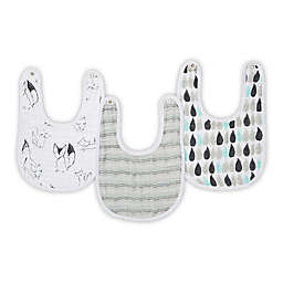 aden® by aden + anais® Trotting Fox Muslin Snap Bibs in Grey