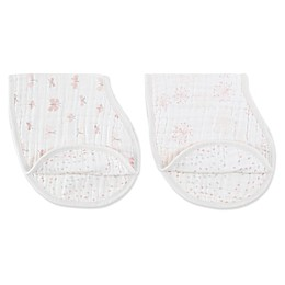 aden + anais® 2-Pack 2-in-1 Lovely Reverie Muslin Bib and Burp Cloths in Pink