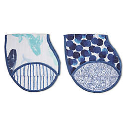 aden + anais® 2-Pack 2-in-1 Seafaring Muslin Bib and Burp Cloths in Blue