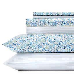 Laura Ashley® Jaynie/Ticking Stripe Wintergreen King Sheet Set