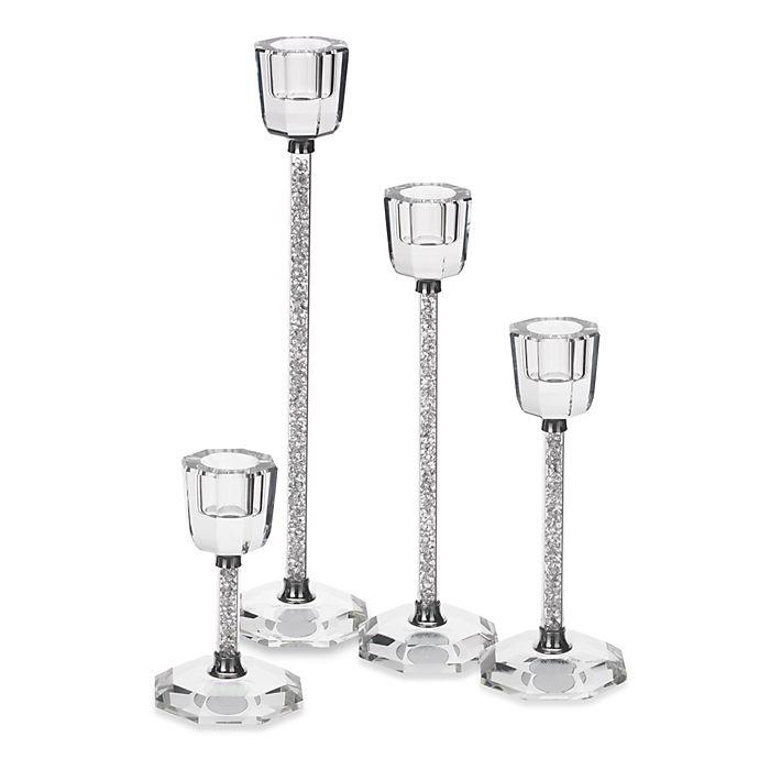 Oleg Cassini Crystal Diamond Candle Holders (Set of 2 ...