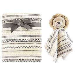 Hudson Baby® Lion Plush Security Blanket Set in White