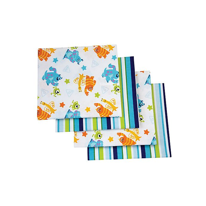 Alternate image 1 for Disney® 4-Pack Monsters On the Go Flannel Receiving Blankets
