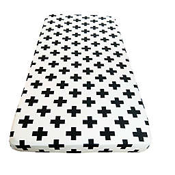 Wildfire Teepees® Cross Fitted Crib Sheet in White/Black