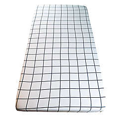 Wildfire Teepees® Grid Fitted Crib Sheet in White/Black
