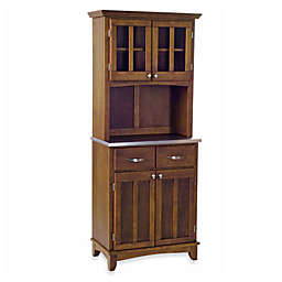 Home Styles Stainless Steel Top Small Buffet/Server with Hutch