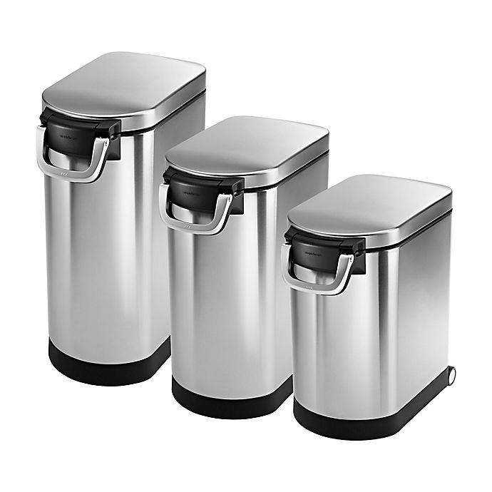 Alternate image 1 for simplehuman® Stainless Steel Pet Food Storage Can