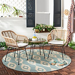 Safavieh Alton 3-Piece Faux Rattan Conversation Set