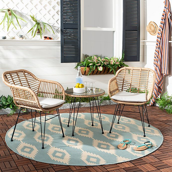 Alternate image 1 for Safavieh Alton 3-Piece Faux Rattan Conversation Set
