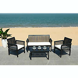 Safavieh Carson 4-Piece Patio Conversation Set in Black/White
