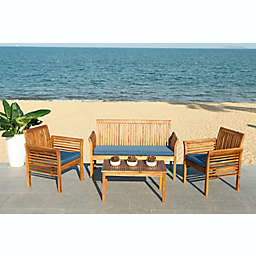 Safavieh Carson 4-Piece Patio Conversation Set in Natural/Navy