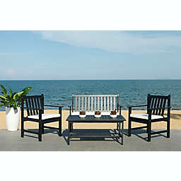 Safavieh Burbank 4-Piece Patio Conversation Set in Black/White