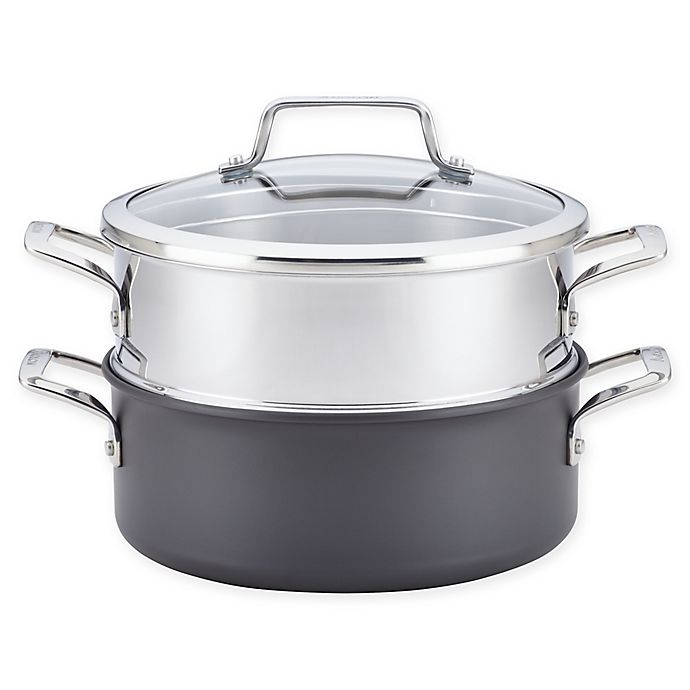 Alternate image 1 for Anolon® Authority™ 5 qt. Covered Dutch Oven with Stainless Steel Steamer Insert