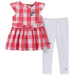 Tommy Hilfiger® 2-Piece Gingham Tunic and Legging Set in Red