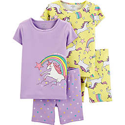 carter's® 4-Piece Unicorn Pajama Top and Short Set