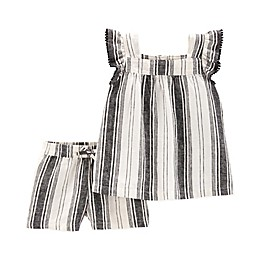 carter's® 2-Piece Stripe Top and Short Set in Black/White