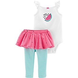 carter's® 2-Piece Cute Watermelon Bodysuit and Tutu Pant Set in White