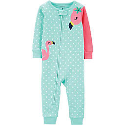 carter's® Flamingo Zip-Front Footless Pajama in Mint