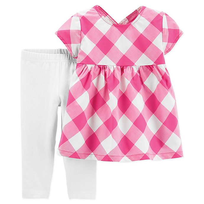 Alternate image 1 for carter's® 2-Piece Gingham Check Shirt and Pant Set in Pink