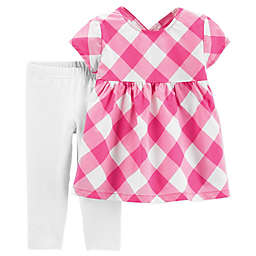 carter's® 2-Piece Gingham Check Shirt and Pant Set in Pink