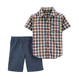carter's® 2-Piece Plaid Shirt and Short Set in Green/Brown/Navy