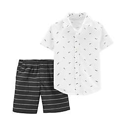 carter's® 2-Piece Paper Airplane Shirt and Short Set in Black/White