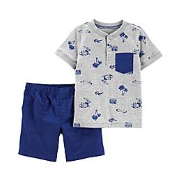 carter's® 2-Piece Summer Henley Shirt and Short Set in Grey/Blue