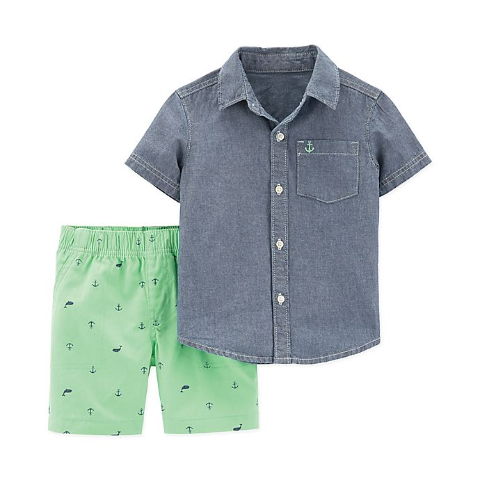 Alternate image 1 for carter's® 2-Piece Chambray Shirt and Short Set in Green/Blue