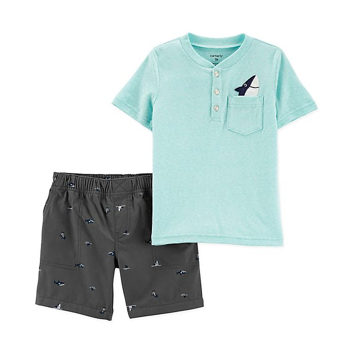 Alternate image 1 for carter's® 2-Piece Shark Henley Shirt and Short Set in Turquoise/Navy