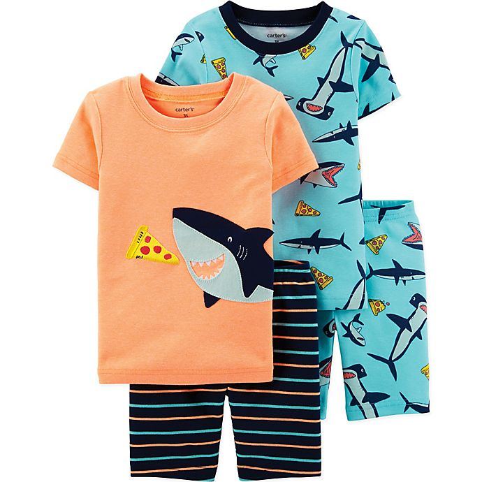 Alternate image 1 for carter's® 4-Piece Shark Pajama Set in Orange