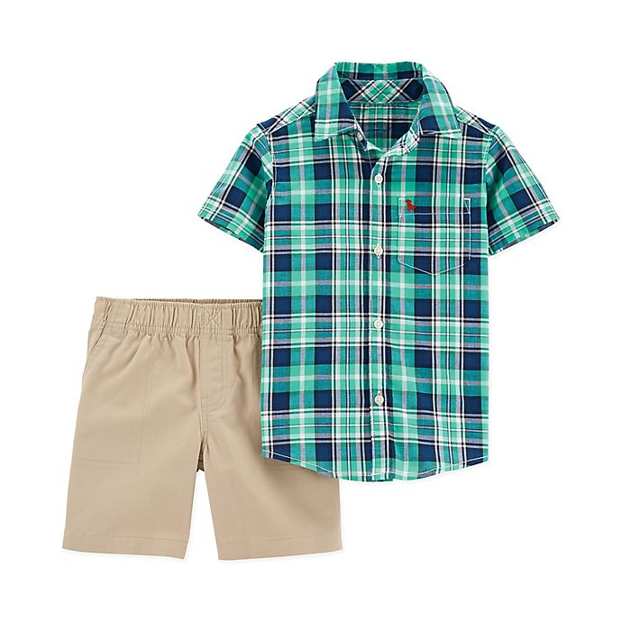 Alternate image 1 for carter's® 2-Piece Plaid Shirt and Short Set in Green/Blue