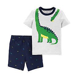 carter's® 2-Piece Wrap Aroun Dinosaur Print Shirt and Shorts Set