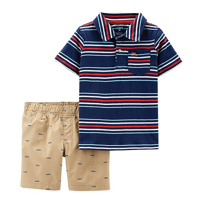 Alternate image 1 for carter's® 2-Piece Polo Shirt and Shorts Set