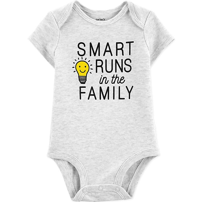 b398bfec7 carter's® Smart Runs in the Family Bodysuit in Grey | buybuy BABY