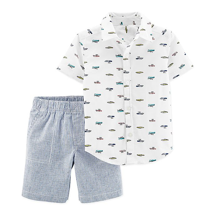 Alternate image 1 for carter's® 2-Piece Schiffli Shirt and Shorts Set in White